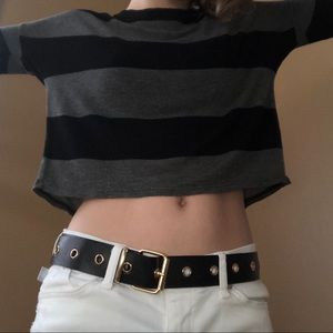 Black and grey sheer striped cropped sweater